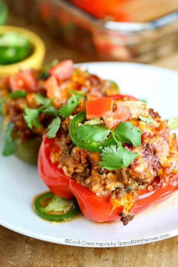 MEXICAN STUFFED PEPPERS---part of 20+ Easy Weeknight Mexican Chicken Dinner Recipes
