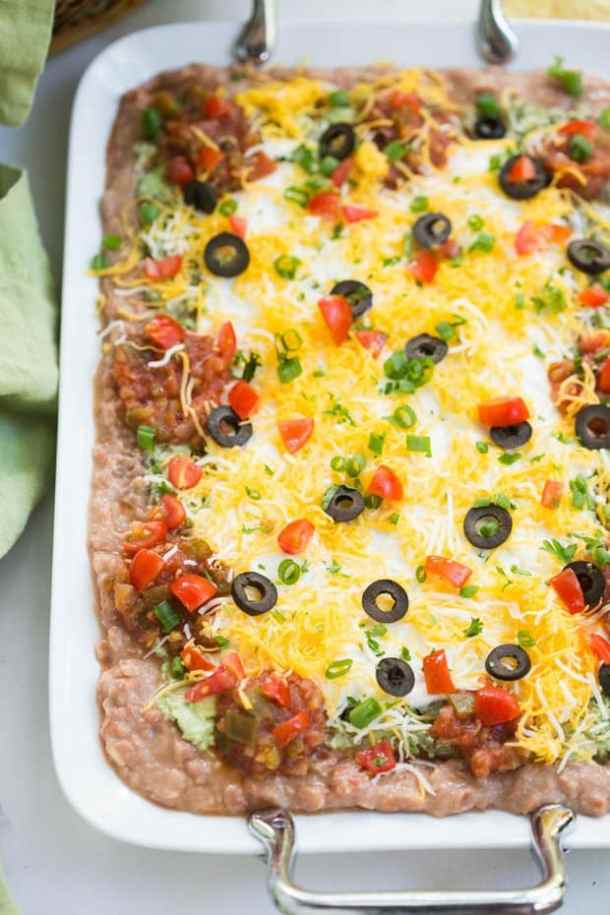 7 Layer Bean Dip -- part of The Most Delicious Appetizer Recipes