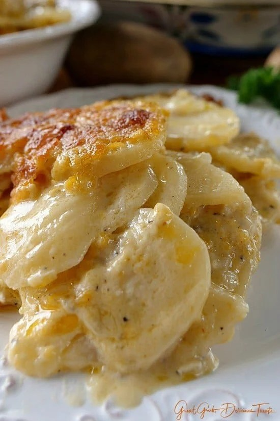 Scalloped potatoes are so good and these cheesy garlic scalloped potatoes are even better. Loaded with three different types of cheese, garlic and sour cream, these are definitely some tasty taters! Totally scrumptious.
