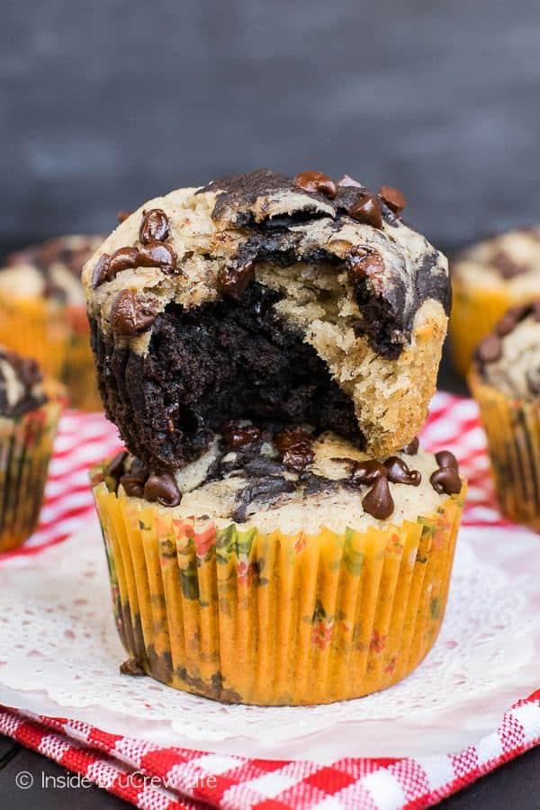 Chocolate Banana Marble Muffins
