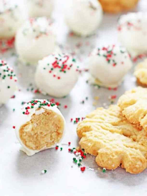 Christmas Sugar Cookie Truffles -- Part of Fun and Festive Christmas Desserts