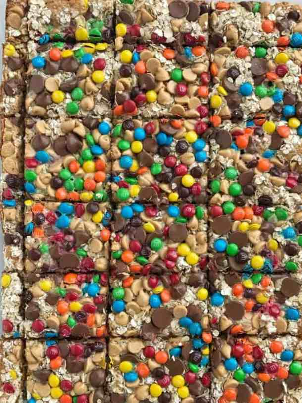 Monster Cookie Magic Bars-- Part of M&M Monster Dessert Recipes that your kids will love!