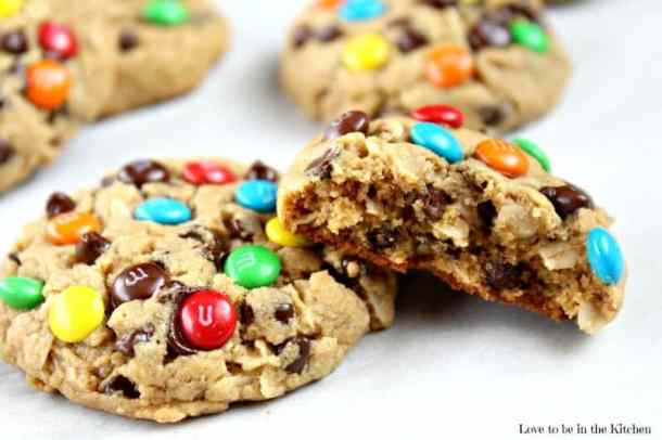Healthier Monster Cookies-- Part of M&M Monster Dessert Recipes that your kids will love!