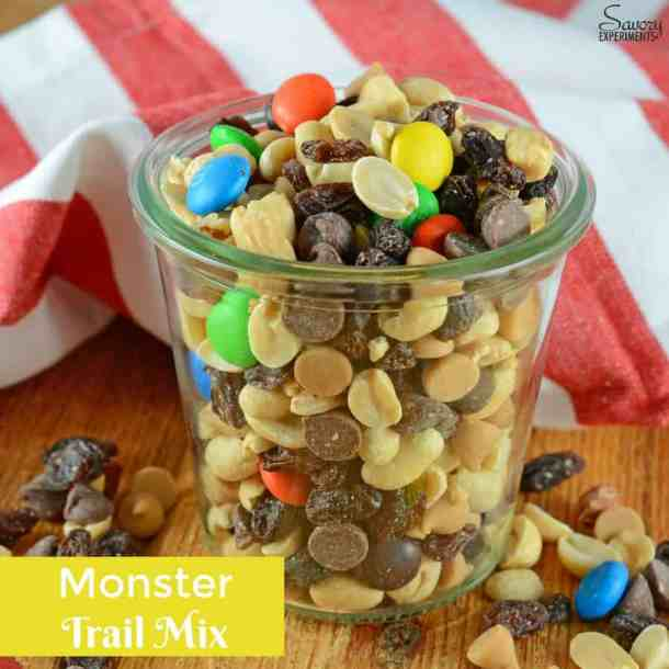 Monster Trail Mix-- Part of M&M Monster Dessert Recipes that your kids will love!