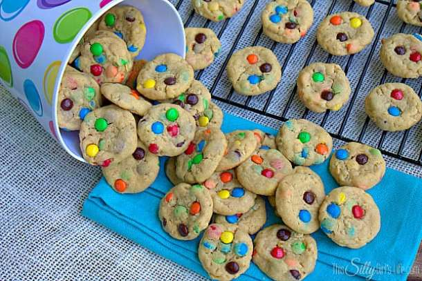 Mini Monster Cookies-- Part of M&M Monster Dessert Recipes that your kids will love!