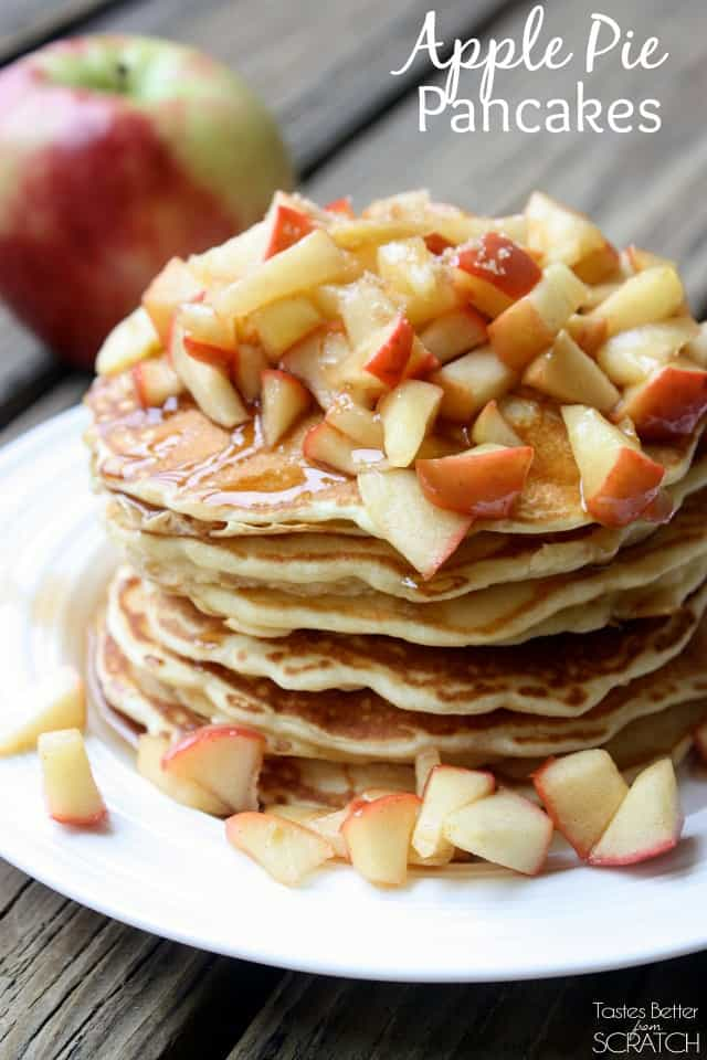 Apple pie pancakes is especially for those of you who love fall! They are fluffy, sweet, and delicious!