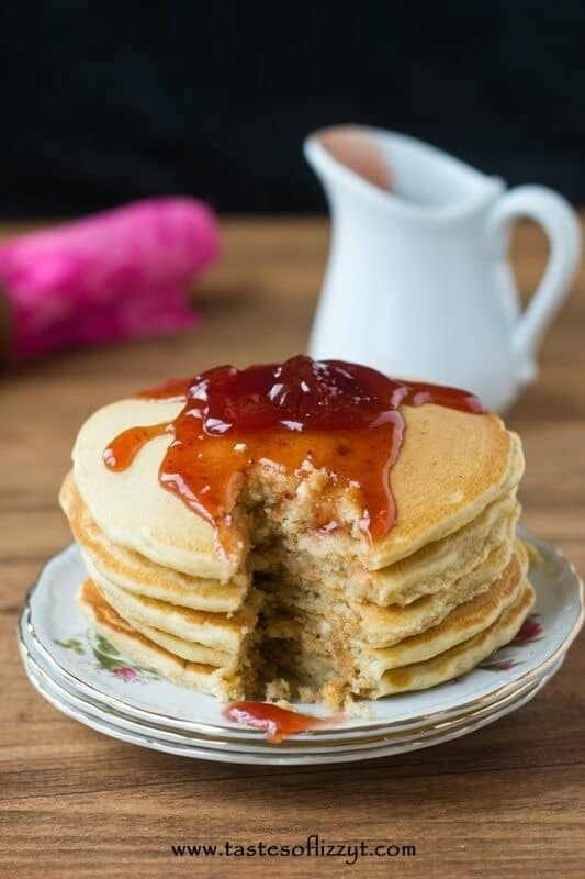 Peanut Butter and Jelly Pancakes…The favorite, classic sandwich turned into a breakfast treat. Heat your favorite type of jelly in the microwave to create a quick fruity syrup to pour over these peanut butter pancakes!