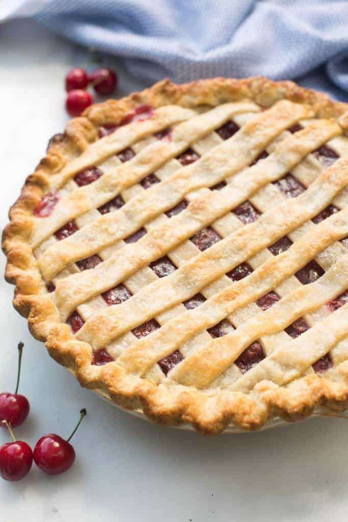 Homemade cherry pie is such an easy pie recipe and works great with fresh or canned cherries, so you can enjoy cherry pie all year round!