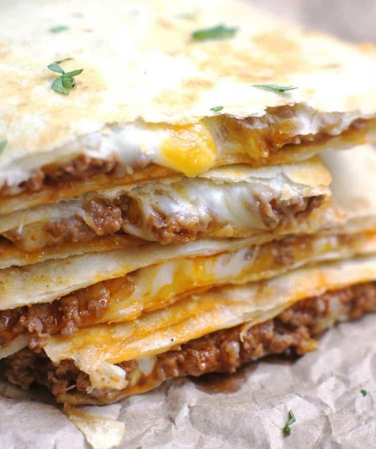 Cheesy Ground Beef Quesadilla