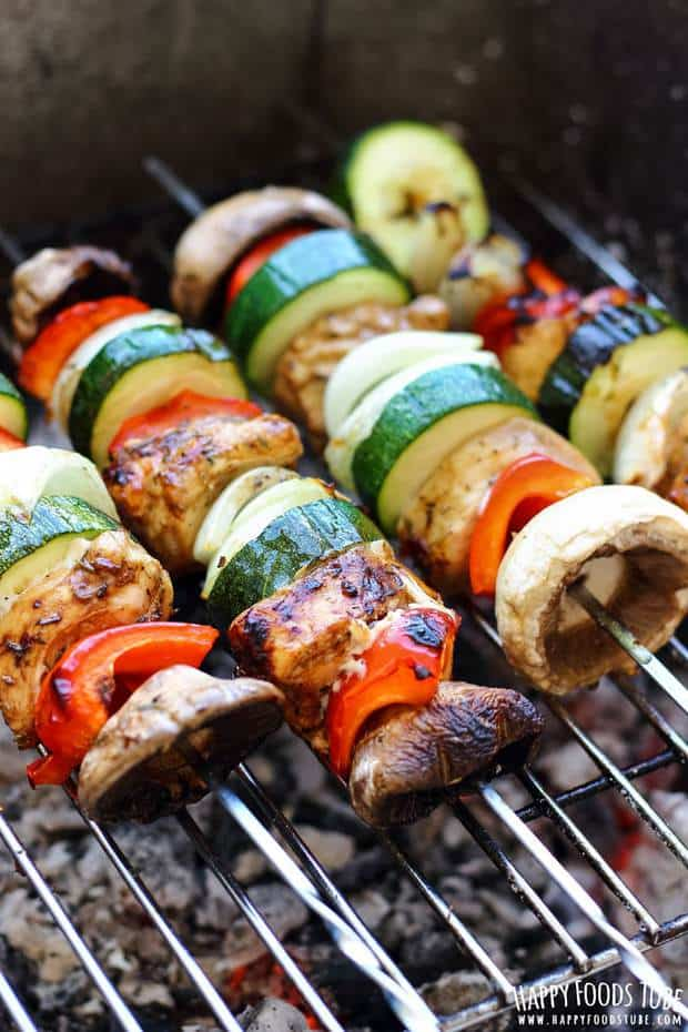 These balsamic chicken skewers are one of the must try grilling recipes before the summer is over! Balsamic marinade makes the chicken extra juicy & adds great flavor!