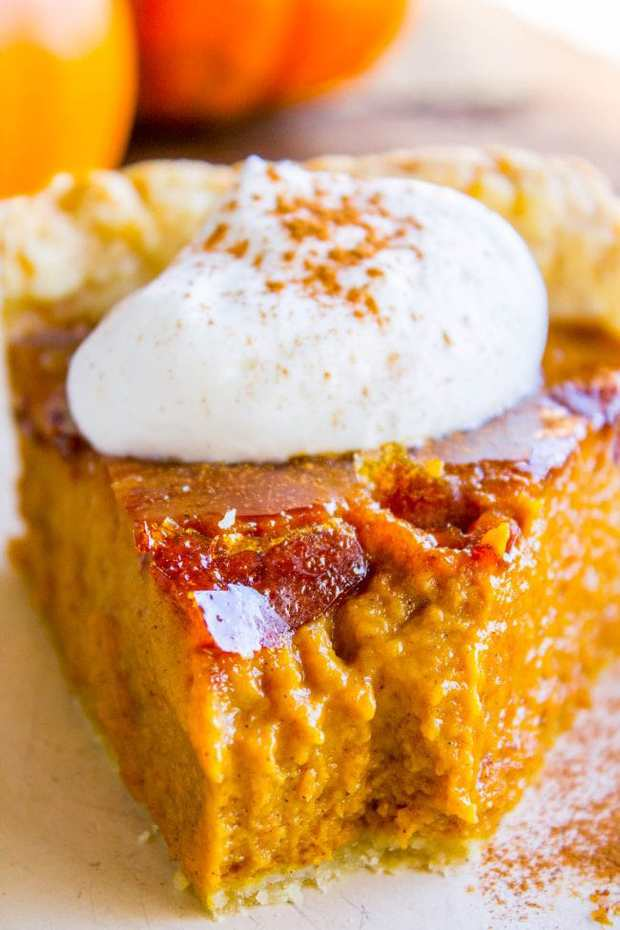 This is literally the best pumpkin pie you will ever have! It's a perfect pumpkin pie recipe to begin with, but then we go and blow torch it to get that cracklycrème brulée topping. Guys. I thought I wasn't a pumpkin pie lover, but I was WRONG!!