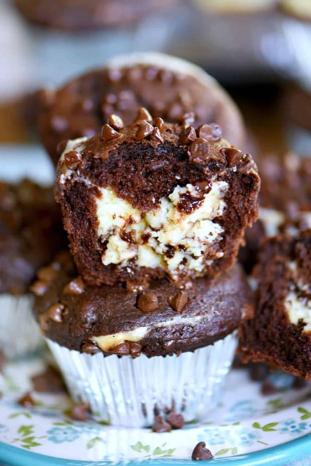 Treat your family toCheesecake Chocolate Chip Muffinsthis weekend and make breakfast an event they won't soon forget. Decadent chocolate chip muffins stuffed with a creamy cheesecake filling are a chocolate lover's dream come true!
