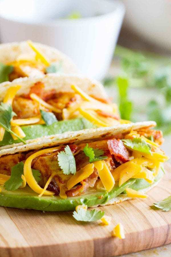 It's better with bacon – especially when it's taco night! These Chicken Bacon Avocado Tacos are perfect for Taco Tuesday!