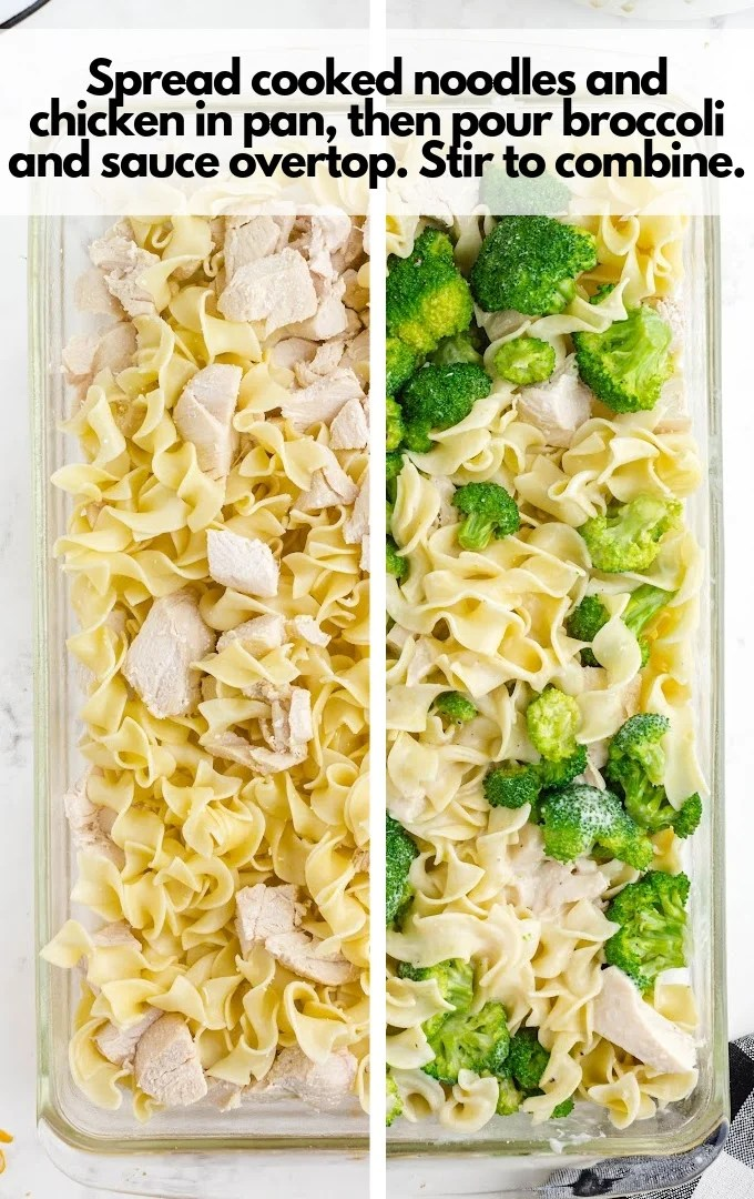 spread noodles, chicken, broccoli and sauce in pan