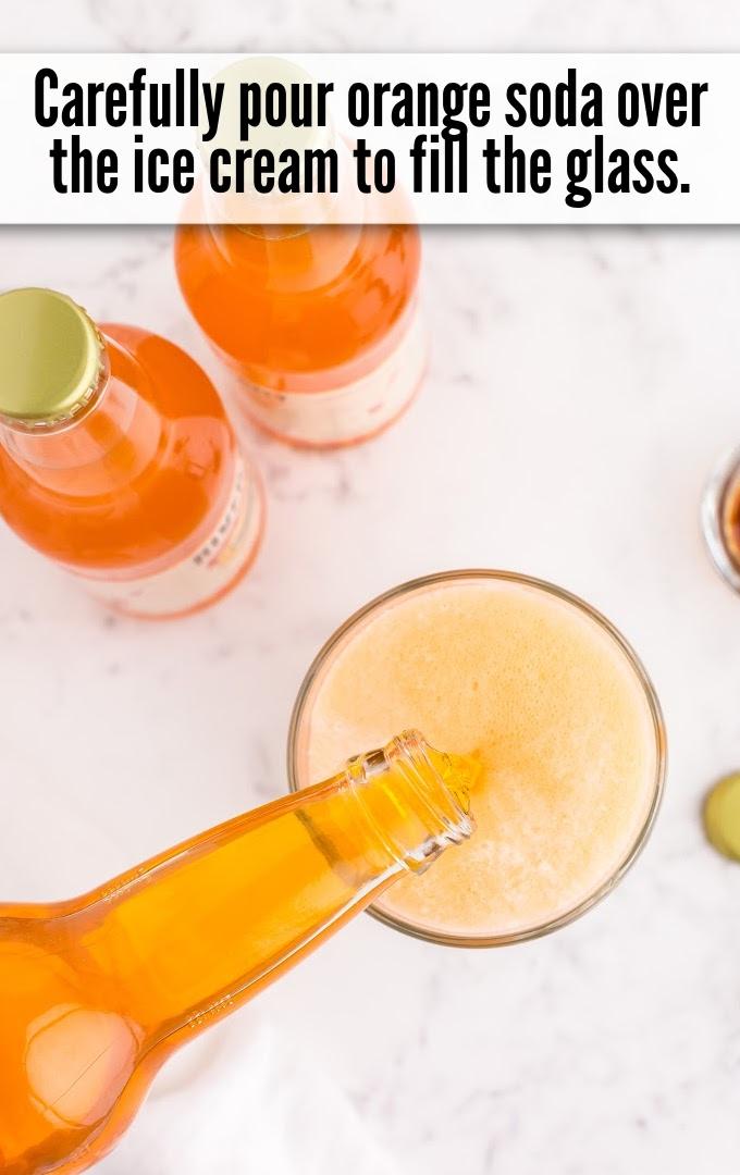 Orange soda pour over ice cream