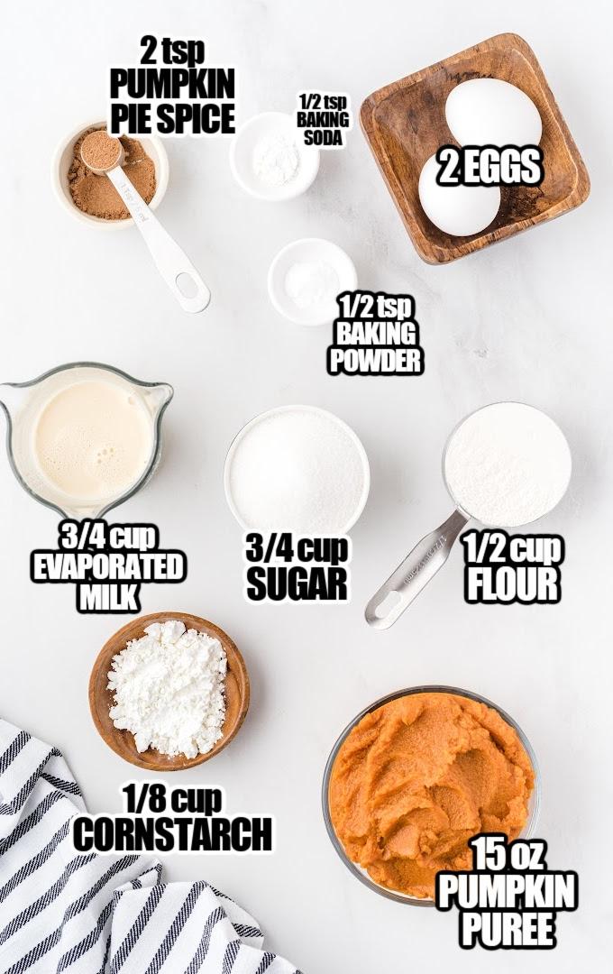 Impossible Pumpkin Pie Cupcakes Ingredients