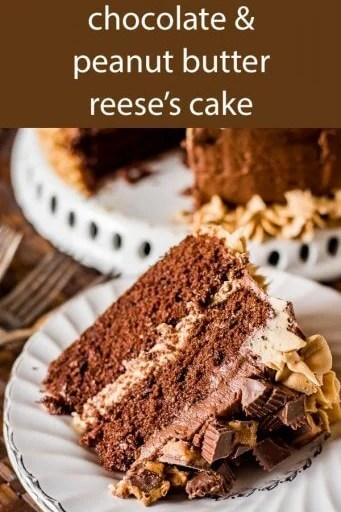 Thick, rich, homemade Reese's Chocolate Peanut Butter Cake with peanut butter frosting and chocolate buttercream. Stuffed with Reese's peanut butter cups!