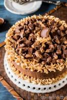 A large chocolate cake on a plate, with reese's and peanut butter