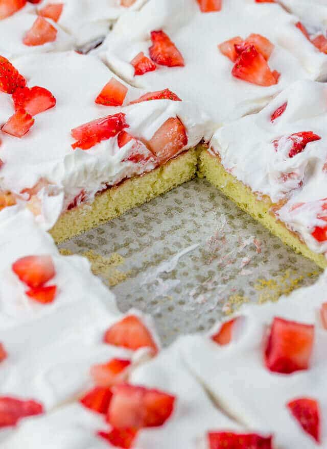 Don't let dessert weigh you down! This light and airy strawberry chiffon sheet cake is not only easy, but delicious. Perfect for summer potlucks.