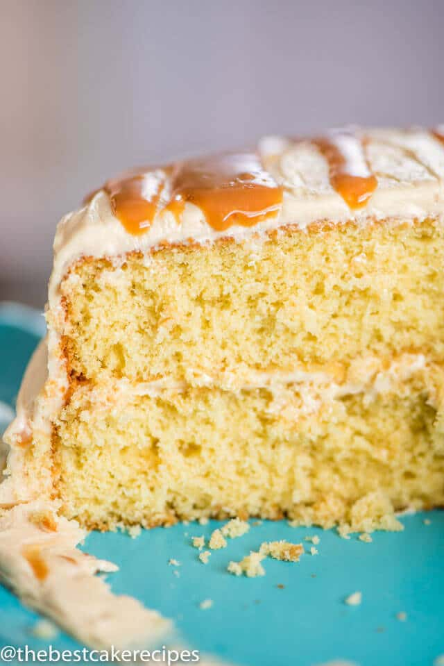 Moist yellow buttery brown sugar cake is the base to this salted caramel cake
