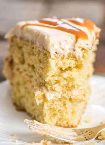 Deep, buttery-flavored brown sugar cake is the base of this from-scratch salted caramel cake. Top with homemade salted caramel frosting.