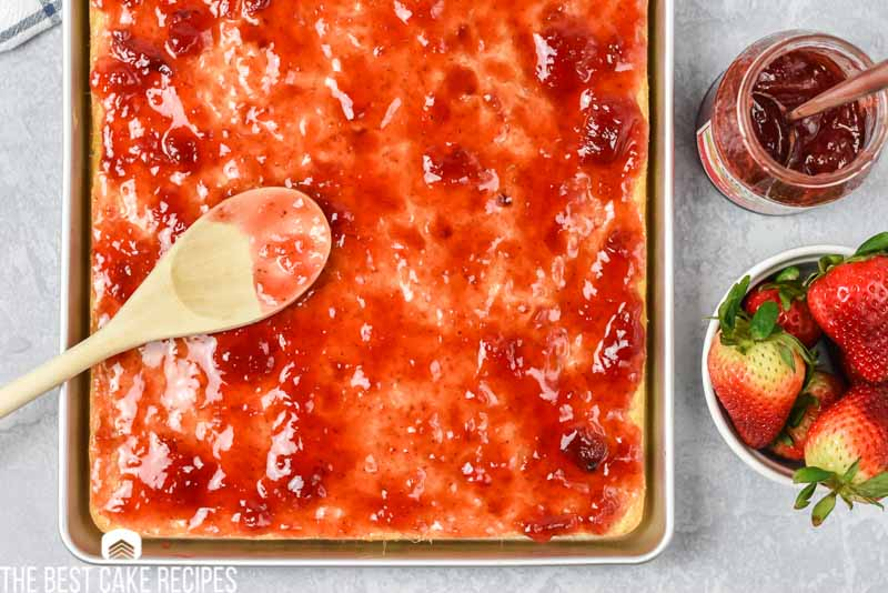 sheet cake with strawberry jam