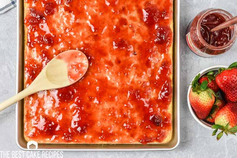 sheet cake with strawberry jam
