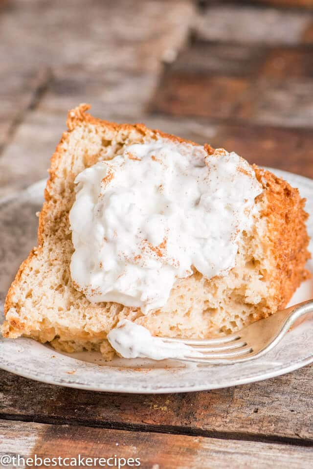 Brown Sugar Angel Food Cake with a dollop of spiced whipped cream