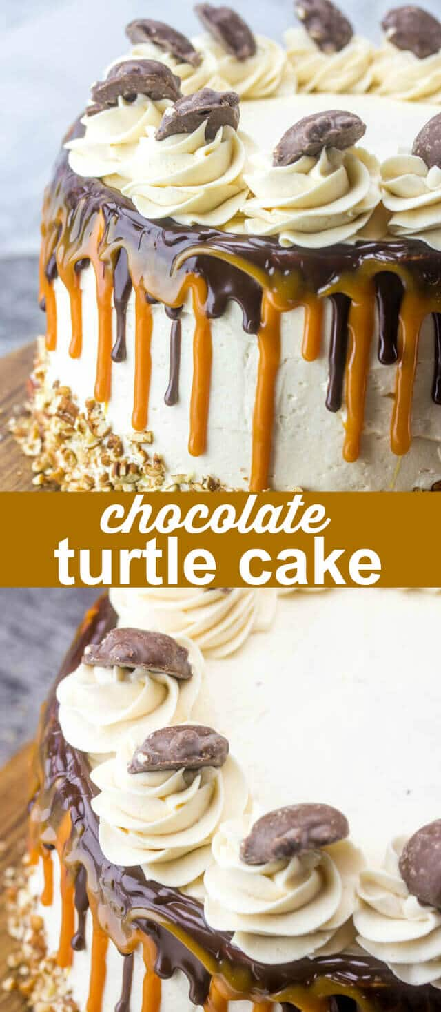 This chocolate Turtle Layer Cake has three layers of chocolate cake paired with caramel buttercream and chocolate ganache. A stunning dessert! via @thebestcakerecipes