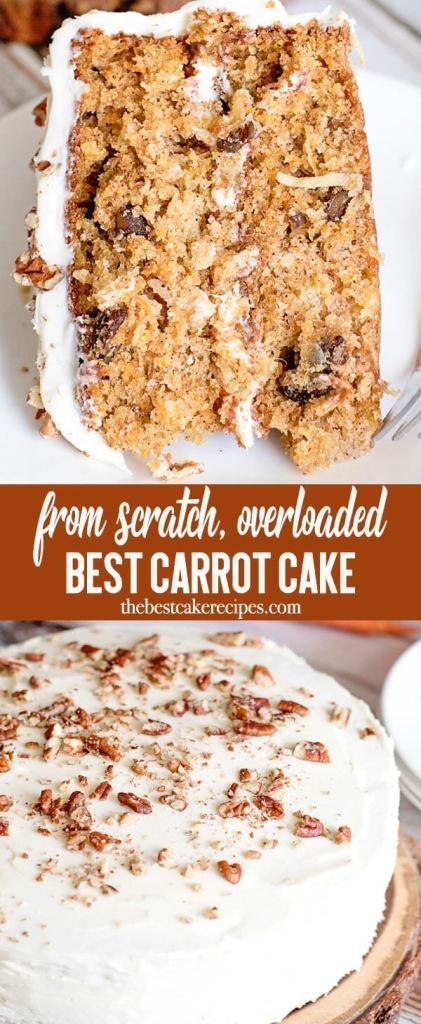 Introducing the best carrot cake recipe, a moist spice cake loaded with carrots, pineapple, coconut and chopped nuts. Top this homemade cake with cream cheese frosting. Bake in a layer cake or 9x13 pan.