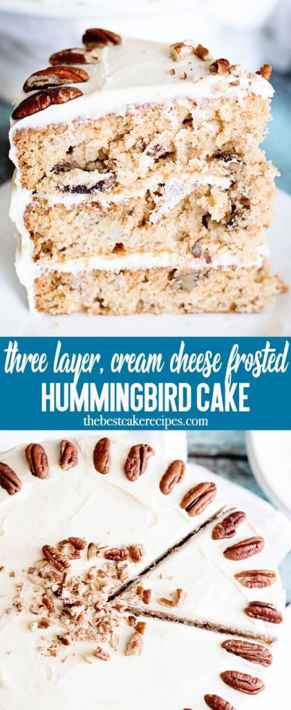 Bananas, nuts and pineapple are packed into this amazingly moist Hummingbird Cake. This three layer homemade cake recipe with cream cheese frosting is perfect for holidays, birthdays or any day!