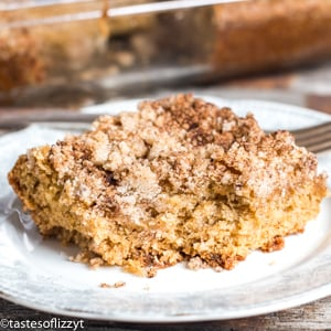 Buttermilk Coffee Cake on a plate with a bite out