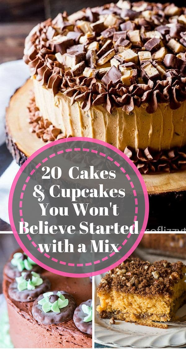 20 cakes and cupcakes you won\'t believe started with a cake mix title collage image