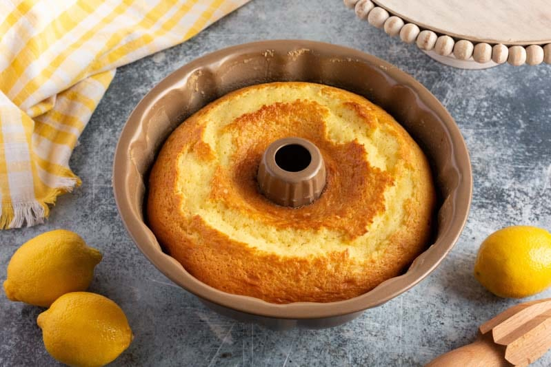 baked cake in a bundt pan