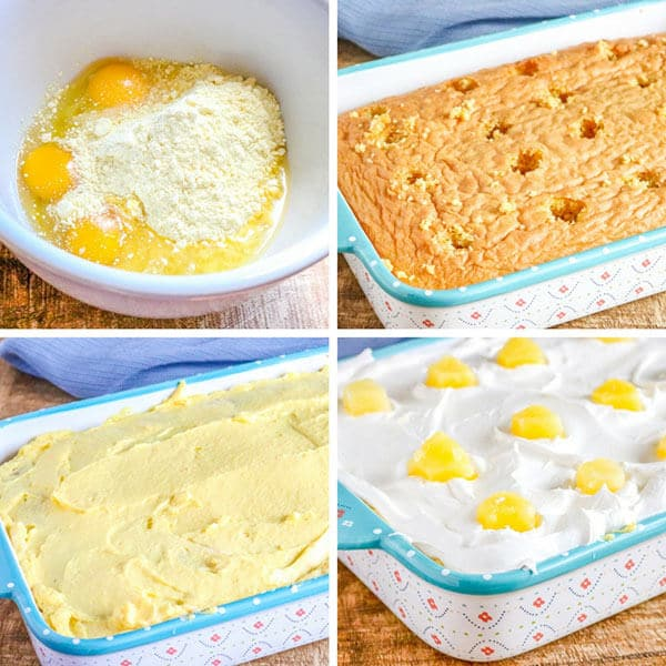 a collage of how to make pineapple poke cake