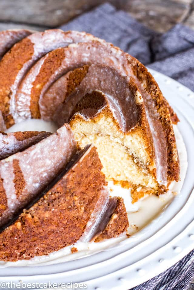 breakfast bundt cake with a slice missing