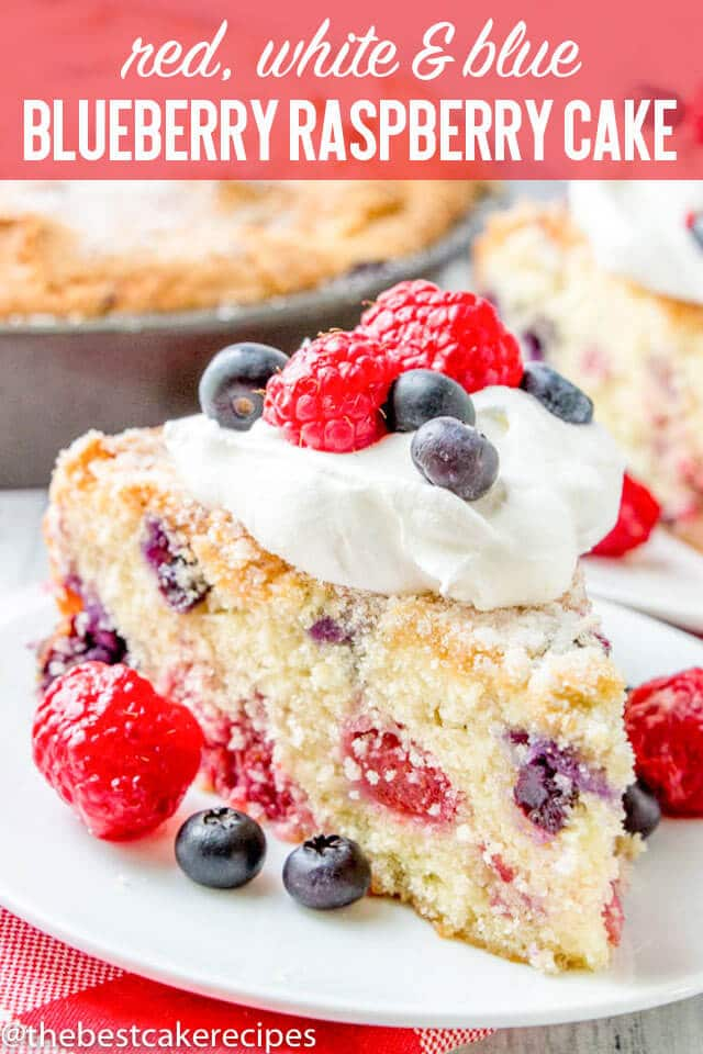 Fresh raspberries and blueberries pack this deliciously simple Blueberry Raspberry Cake with sugar topping. This is a perfect patriotic cake or July 4th breakfast idea. Serve with a dollop of whipped cream and berries.