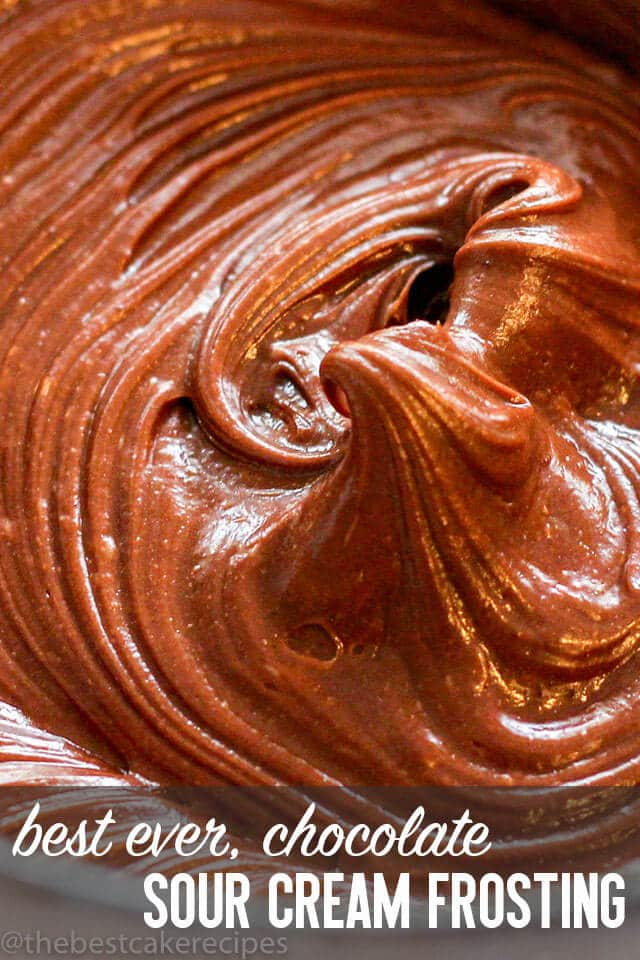 Chocolate frosting made extra creamy when you whip in sour cream! This Chocolate Sour Cream Frosting goes perfectly on chocolate cakes and cupcakes.