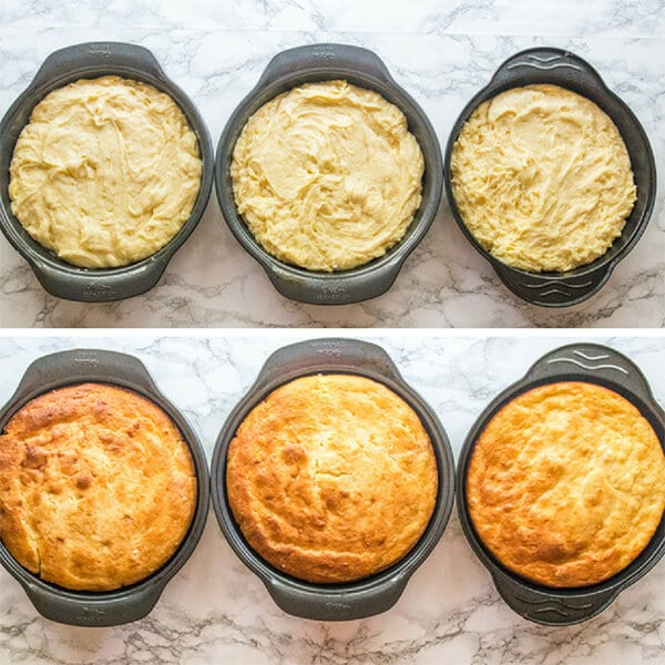 3 white cakes in baking pans
