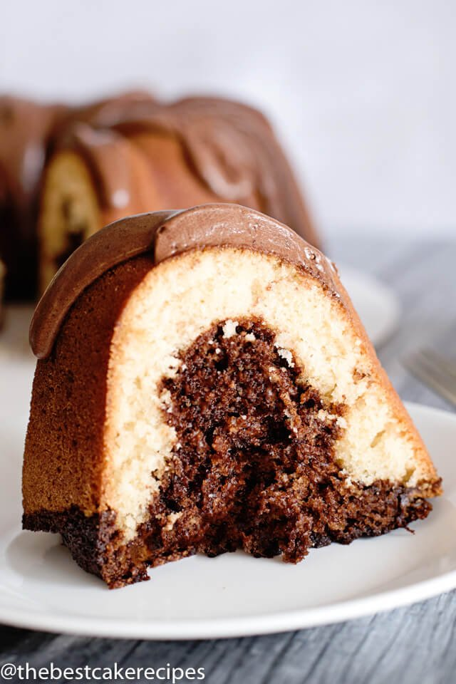 chocolate and vanilla bundt cake on a plate