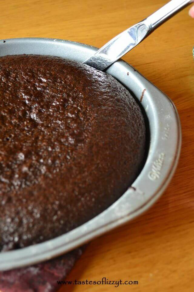 chocolate cake in a round cake pan