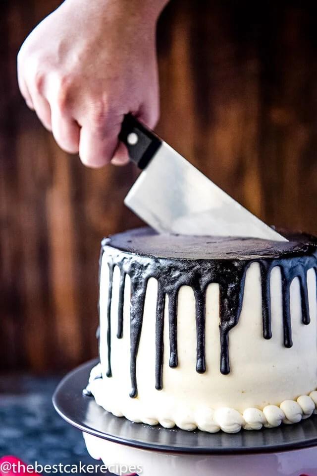 Phenomenal Bloody Halloween Cake Recipe Fun White And Black Drip Cake With Funny Birthday Cards Online Inifofree Goldxyz