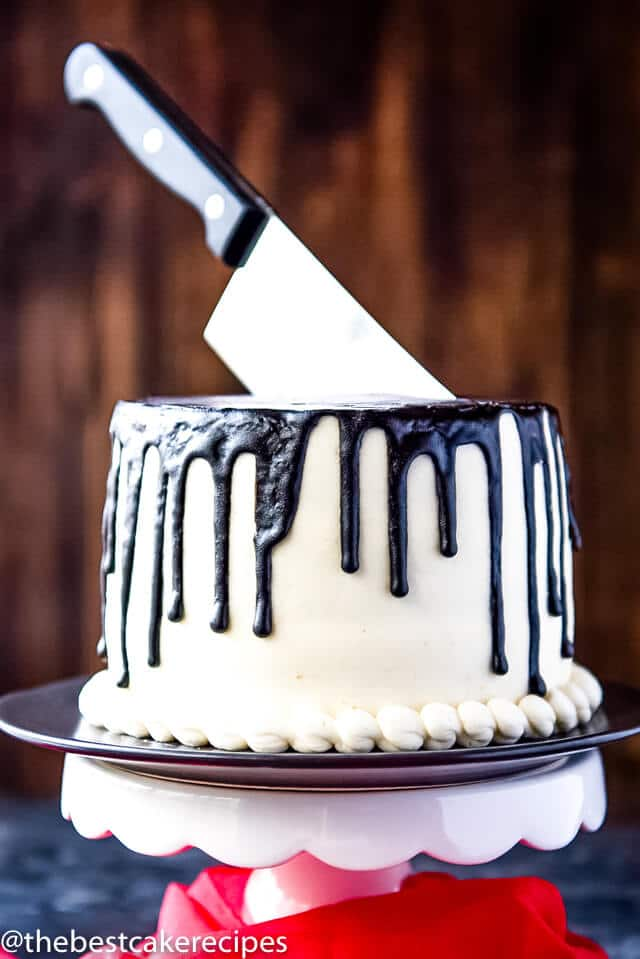 A cake with a knife