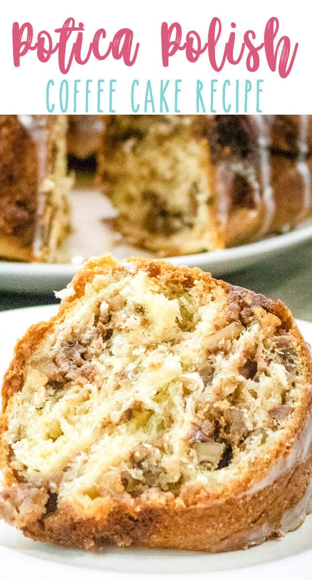 Potica Coffee Cake is a sweet nut roll baked in a bundt cake pan. This delicious yeast based coffee cake is perfect for the holidays alongside a cup of coffee!