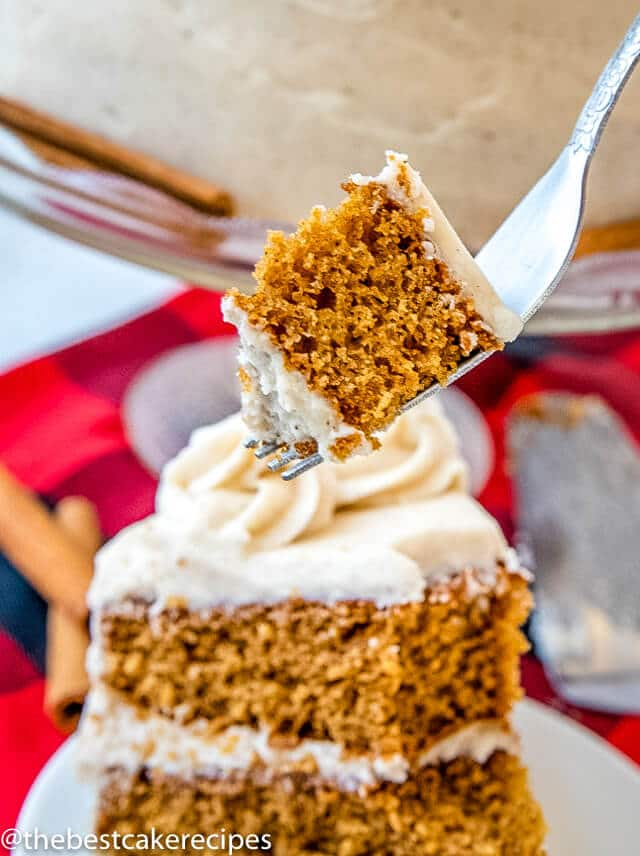 homemade spice cake with a bite on a fork