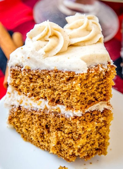 A deep flavored, rich homemade cake with spiced buttercream frosting. This molasses spice cake is perfect for the holiday season!