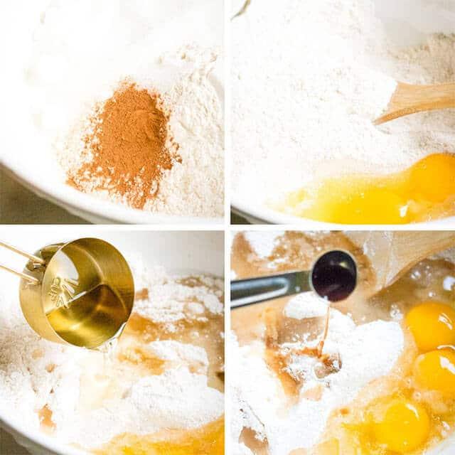 banana cake 4 image collage