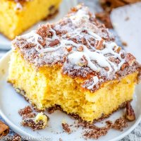 yellow coffee cake with bite taken out