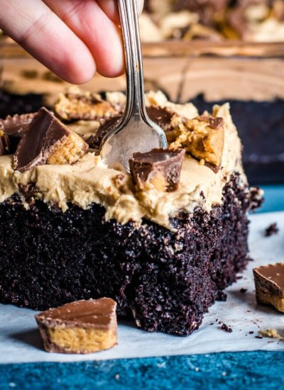 fork digging into a chocolate cake with peanut butter frosting