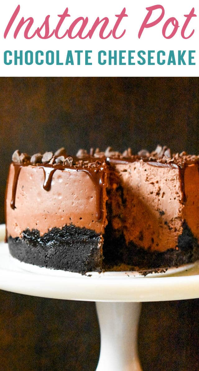 Make a small size cheesecake that is every chocolate lover's dream! This Instant Pot Chocolate Cheesecake has an Oreo crust and ganache topping. via @thebestcakerecipes